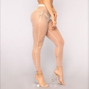 Fashion Nova Nude Pearl Mesh Cover Up
